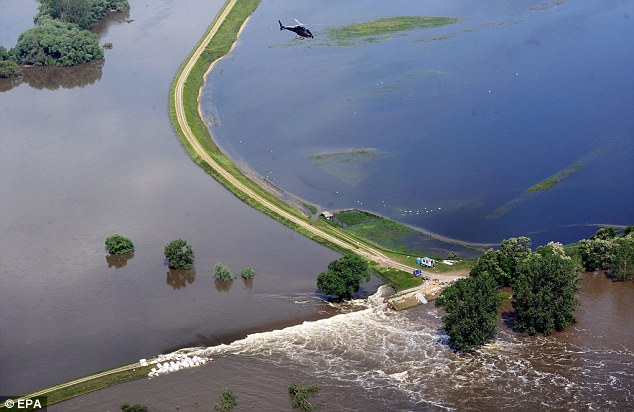An aerial view over the town of Fischbeck, near Magdeburg in the German state of Saxony-Anhalt after flooding from the river Elbe