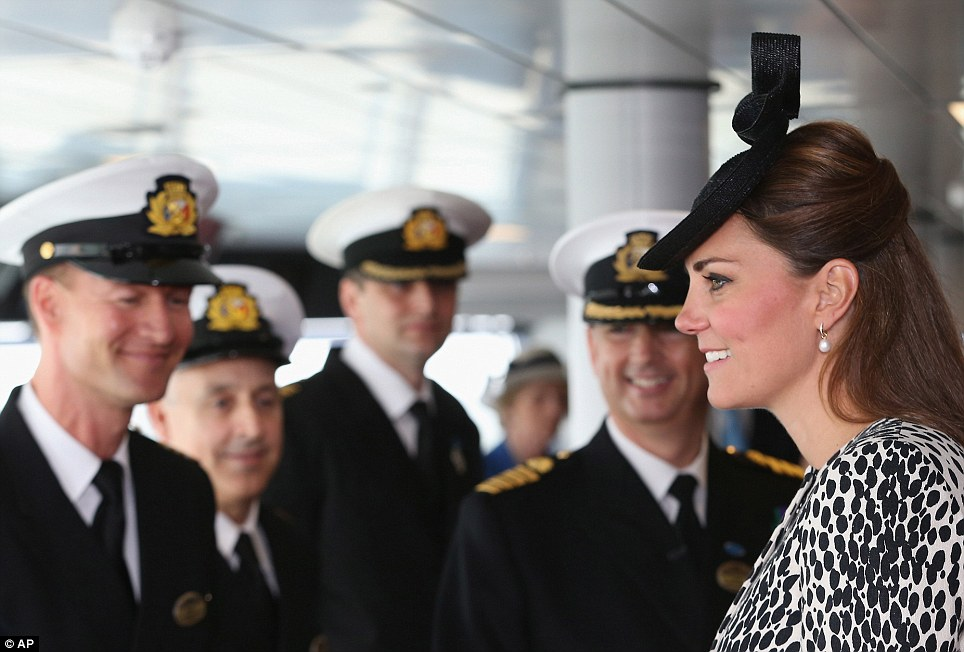 Officer class: The Duchess of Cambridge speaks to officers belonging to the crew of the cruise ship Royal Princess during a tour of the vessel