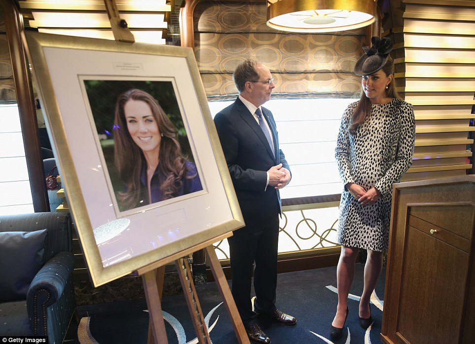 Is that me? The Duchess is shown a portrait of herself by President and CEO of Princess Cruises Alan Buckelew, which will be displayed in the ship's art gallery