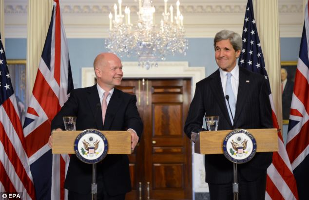 William Hague, left, is in Washington with John Kerry, right, for talks which are likely to focus on the situation in Syria