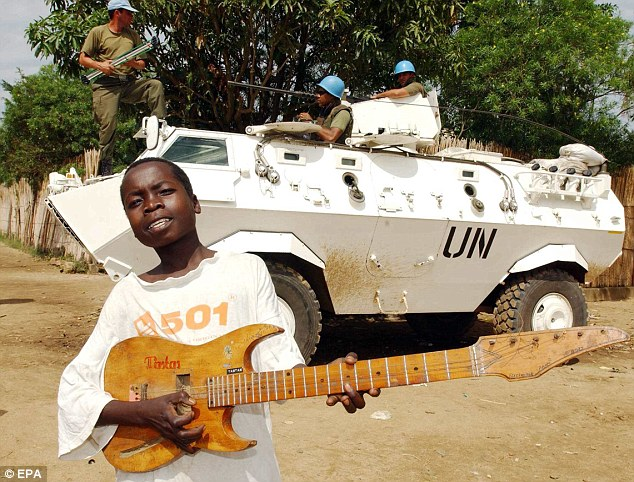 UN peacekeepers in pictured in Bunia, Congo, in 2003. It will be the first time a UN force has gone to war in the history of the organisation