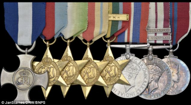 Glittering service: The medals of decorated war hero Commander Ian Forbes, pictured from left to right, DSC, WW2 star, Atlantic star, Africa star, Pacific star, War medal, Naval GSM and Coronation medal, are to be auctioned