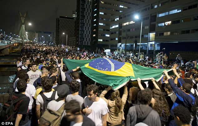 Gathering: The demonstrations in Rio de Janeiro were largely peaceful
