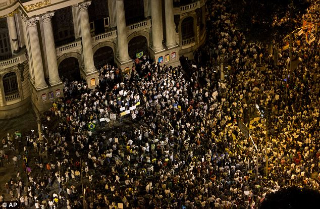 Meeting point: Protestors gather at the Municipal theater during a march in Rio de Janeiro