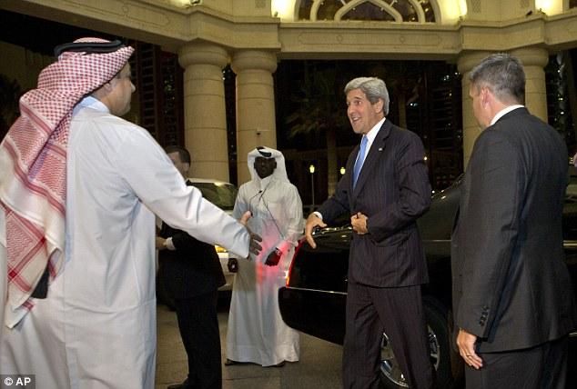 Talks: Secretary of State John Kerry meets Qatar's prime minister Hamad bin Jassim Al Thani for talks