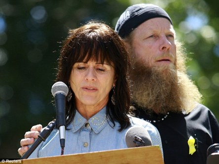 Jani and Bob Bergdahl, the parents of captured U.S. Army Sergeant Bowe Bergdahl, address a rally held in their son's honor in Haley, Idaho