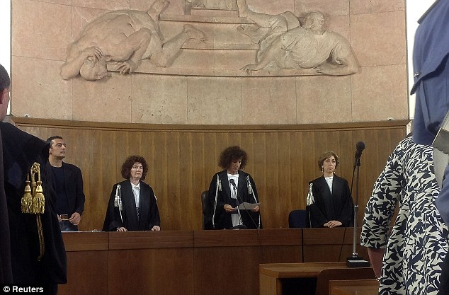 Sentenced: President of the court Giulia Turri (centre) read out the damning verdict
