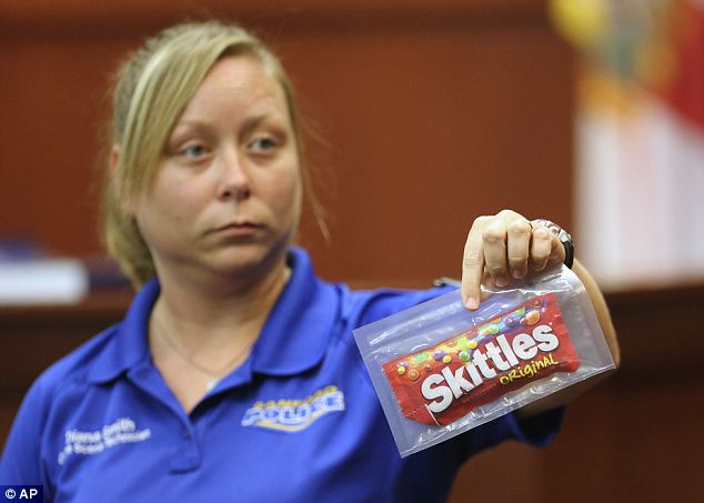 Candy: Diana Smith, crime scene technician for the Sanford Police Department, shows a bag of Skittles, which was collected as evidence, to the jury during Zimmerman's trial today