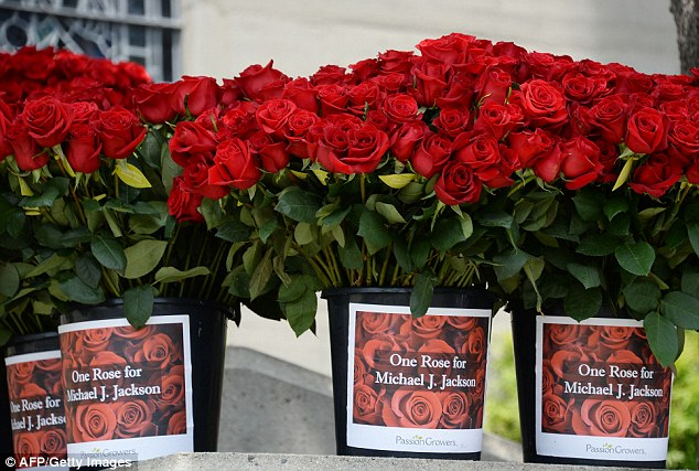 Show of love: One Rose For Michael Jackson delivered the over ten thousand flowers in identical plastic pots