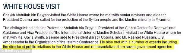 After MailOnline inquired with the White House, but before bin Bayyah's organization was approached, the 'national security adviser' language disappeared