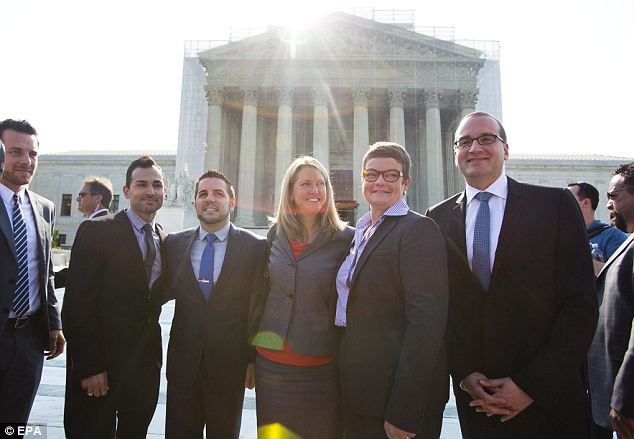 Working for the wedding: Plaintiffs Paul Katami, Jeffrey Zarrillo, Sandy Stier, and Kristen Perry were the people fighting for marriage equality in California