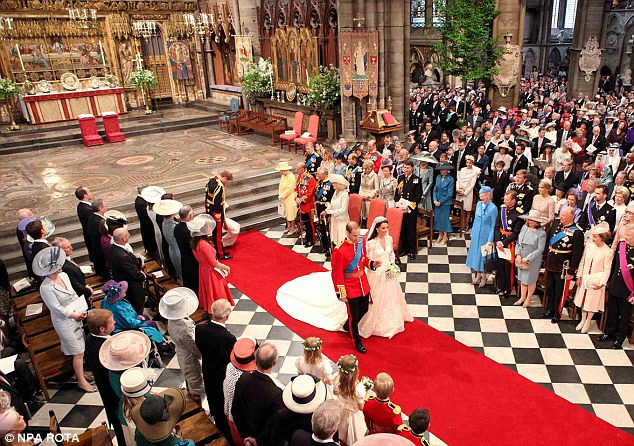 Marital boost: Following the marriage of Prince William and Kate Middleton in 2011, marriages in church were up by almost 50%
