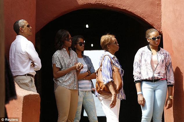 Touring: President Obama was accompanied to Goree Island by his wife Michelle, their eldest daughter Malia, Michelle's mother Marian Robinson and their niece Leslie