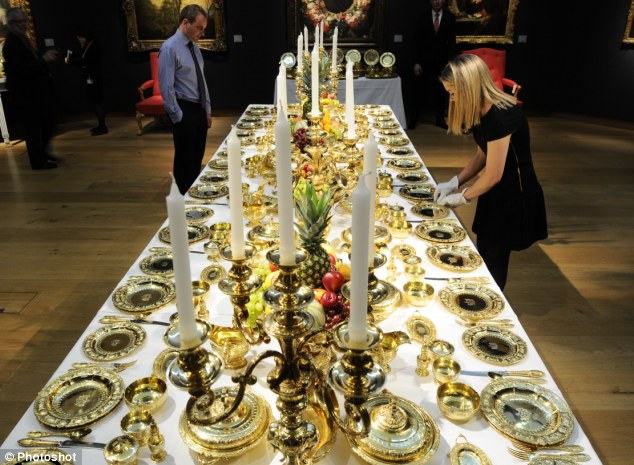 Big dinner: A table has been laid with the Maharaja of Patiala's banqueting service to show it in all its glory