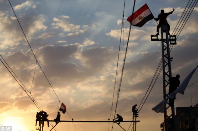 Opponents of Egypt's President Mohammed Morsi wave national flags during a protest outside the presidential palace, in Cairo, Egypt