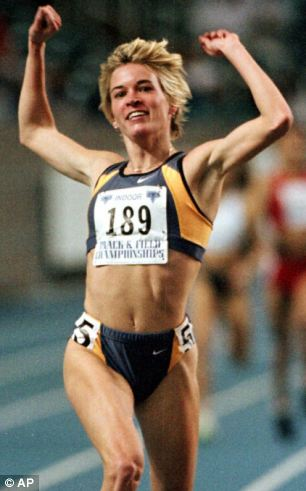 Feb. 27, Suzy Hamilton reacts after winning the women's 1,500 meter run at the USA Championships athletics meet in Atlanta