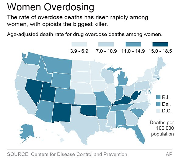 Map showing the rate of overdose deaths rising among women in the USA