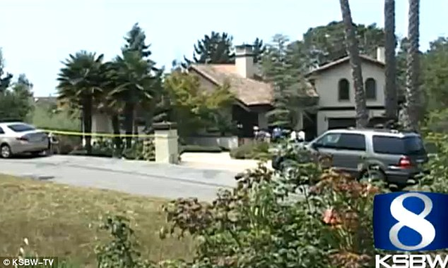 Crime scene: The elderly father was found dead on the front lawn while James Henderson's mother was lifeless inside their Aptos home, pictured