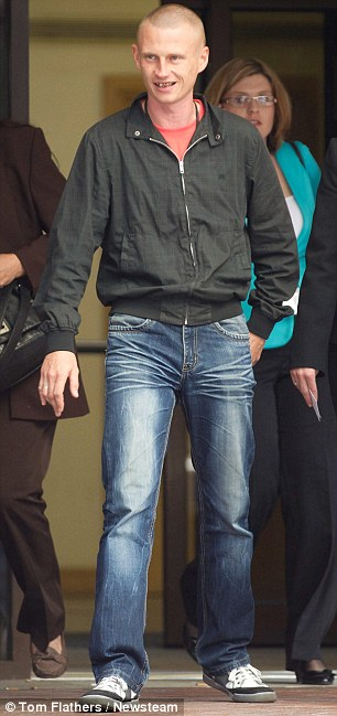Daniel's biological father Eryk Pelka, pictured leaving Birmingham Crown Court, told the jury Magdalena Luczak was a violent drunk who threatened to stab him with a knife