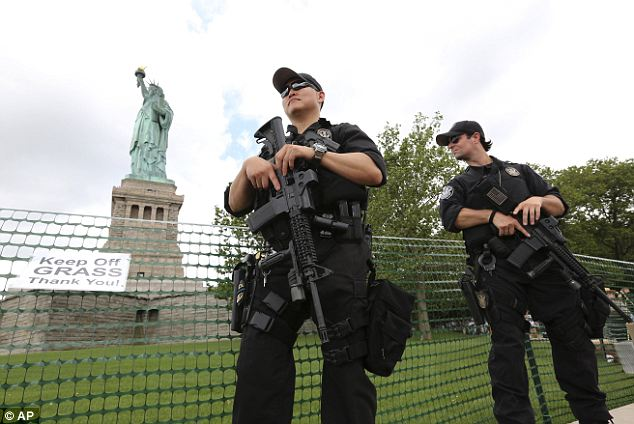 High security: The Statue of Liberty was closed shortly after the September 11 terror attacks but they reopened until Hurricane Sandy caused damage last fall