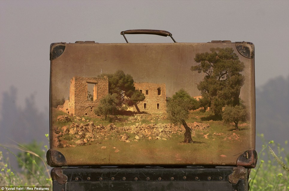 Yuval took picturesque images of ruins in Israel and printed them onto the leather suitcases