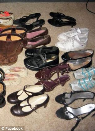 Letting go: Shields says that she was able to get a lot more done once she got rid of her shoe obsession (left) but admits she cried when she gave away her clothes (right)