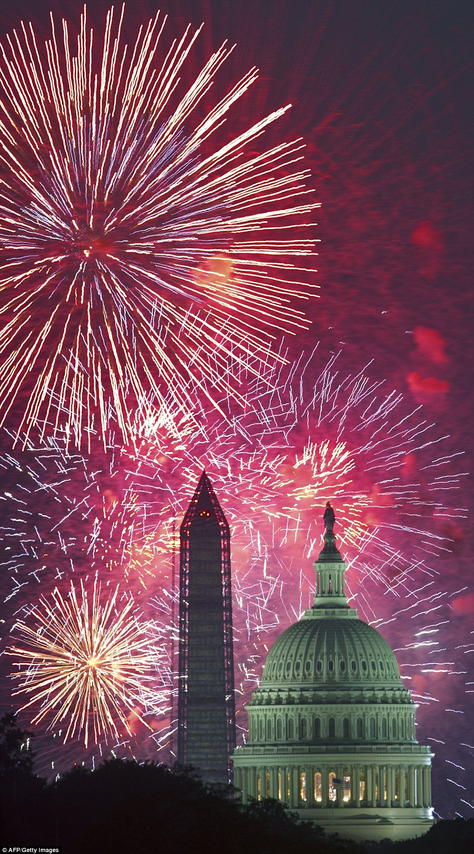 The spectacular fireworks were seen over the US Capitol and Washington Monument July 4, 2013