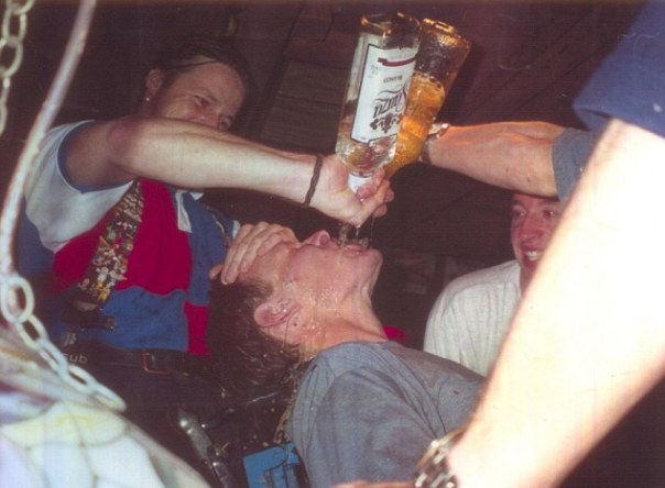 Dentist's Chair: England footballers including Teddy Sheringham were snapped playing the drinking game in a Hong Kong bar in the run-up to the Euro '96 tournament