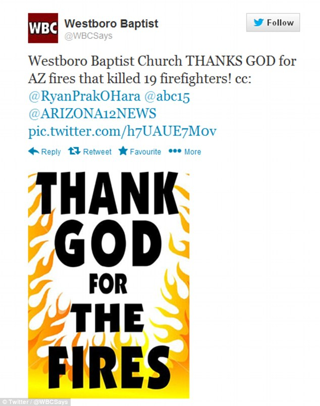 Repulsing: WBC sent out a second tweet praising the fire, this one complete with a blazing graphic thanking God for the fires