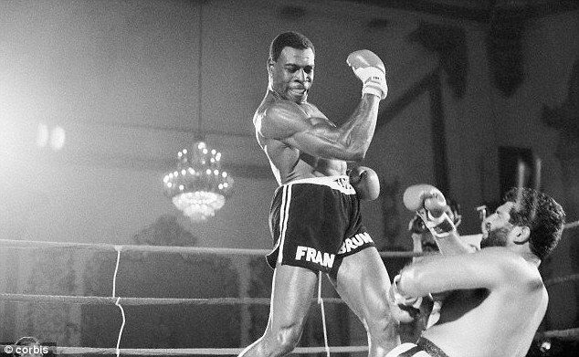 Hey-day: Frank, pictured in his heavyweight boxing hey-day in 1983, after flooring Mike Jamieson during their bout in Chicago, Illinois. Frank won the fight after a KO in the second round