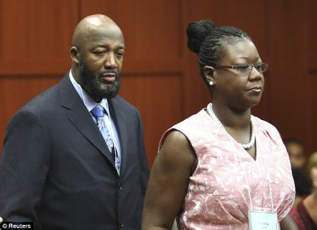 Parents: Tracy Martin and Sybrina Fulton arrive today. Mother Sybrina testified on Friday that the calls for help belonged to her son