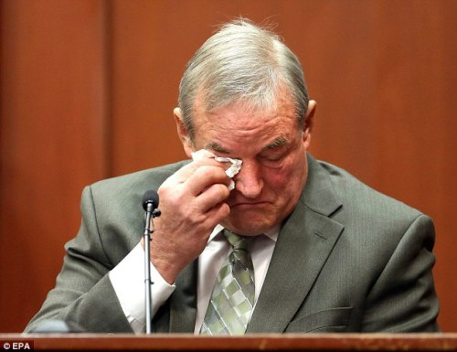 Emotional: John Donnelly, a friend of George Zimmerman, dries his eyes after listening to screams on the 911 tape entered in evidence, which he said belongs to the 29-year-old