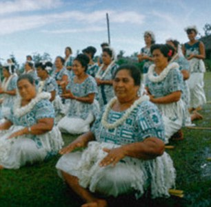 American Samoan local women performing a cultural show