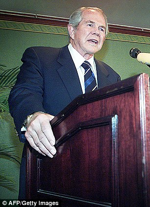 Influential: Christian Coalition President Pat Robertson appears on NBC's 'Meet the Press' May 7th, 2000 in Washington, D.C. (left) while he appears in Beijing (right) in 2001