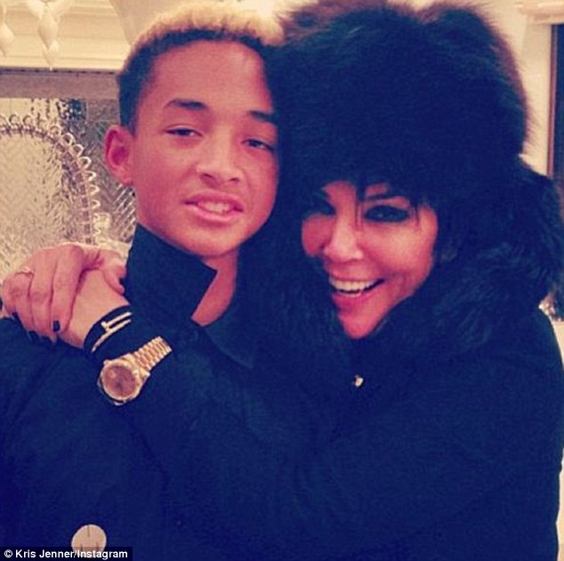 Mama bear hug: Kris Jenner also posted her own photo of her and Jaden with a birthday message that read, 'I love you Jaden. Have the best day ever!!'