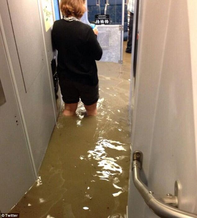 Knee-deep: The unfortunate train was completely flooded