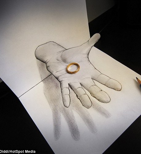 An amazing 3D drawing shows a hand holding out a ring, by artist Alessandro Diddi