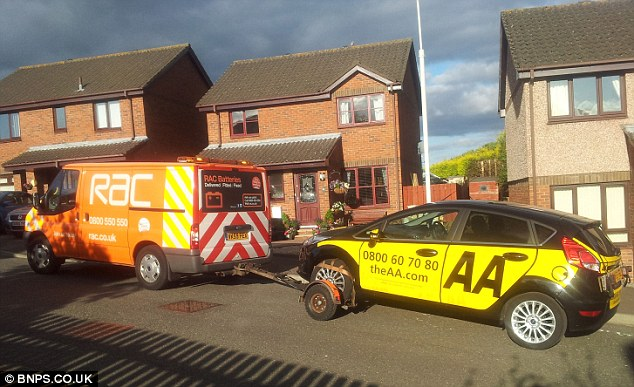 Embarrassing: The AA had to sheepishly turn to arch rivals the RAC for a tow after one of its cars broke down
