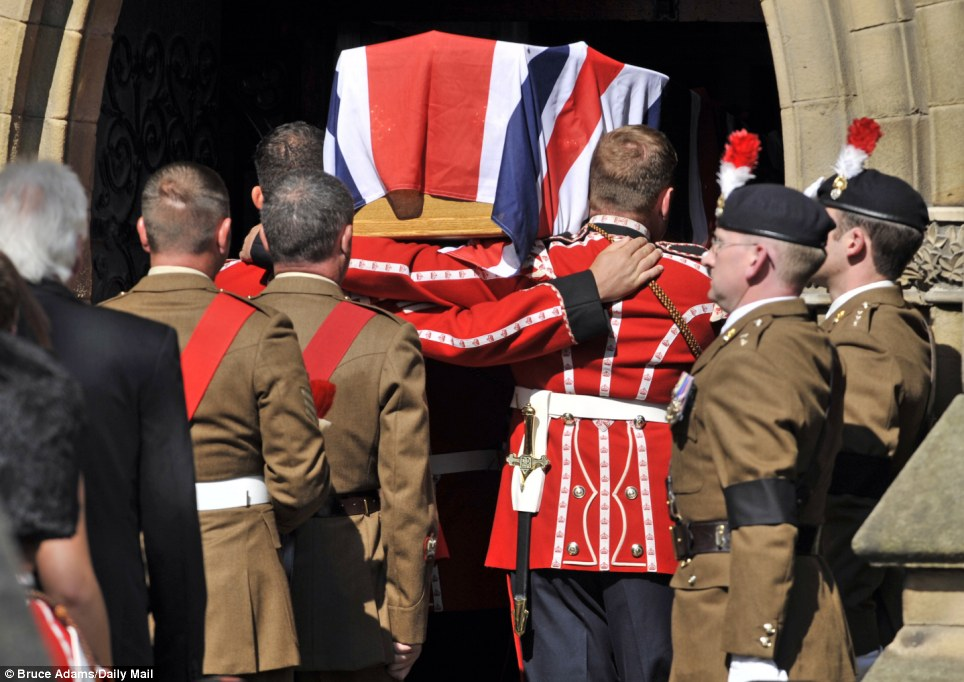 The coffin arrived at Bury Parish Church yesterday ahead of an all-night vigil on the eve of the Fusilier's funeral