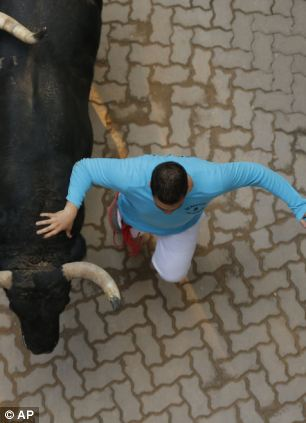 An 'El Pilar' fighting bull runs during the running of the bulls o