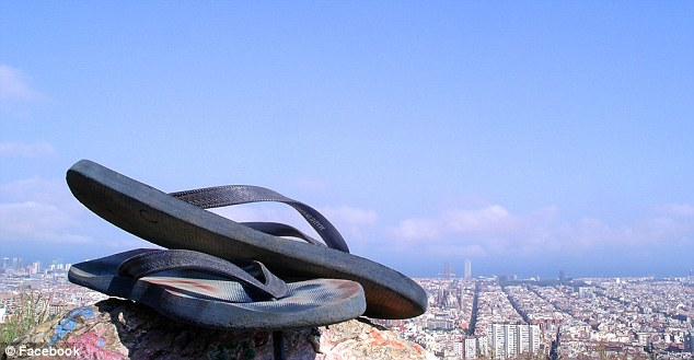 Off on an adventure: Eccles has posted various pictures during his trip abroad including his 'trail-running flip-flops'