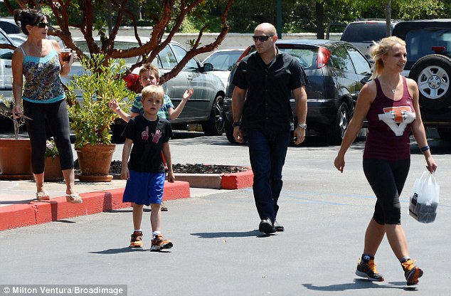 Family time: Britney was joined by her mother Lynne and sons Sean and Jayden and a bodyguard