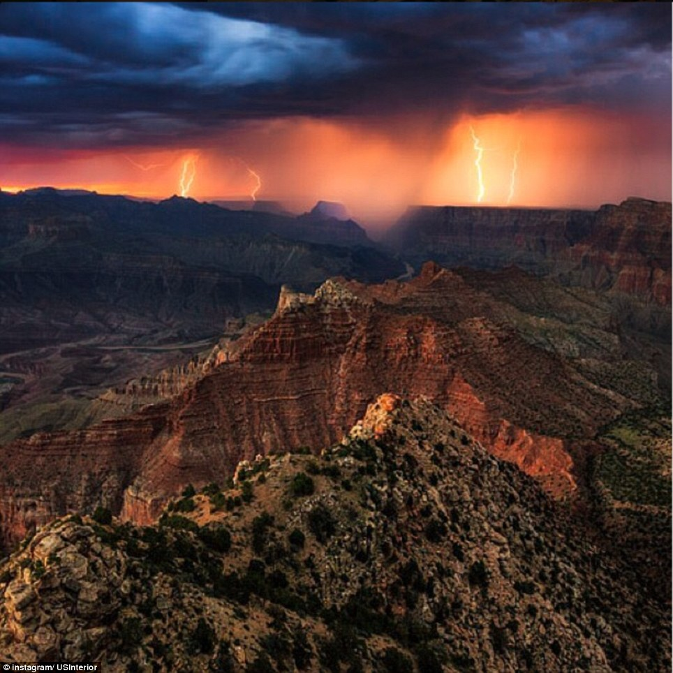Arizona: A storm lights up Grand Canyon National Park in this photo taken from Lipan Point on the South Rim