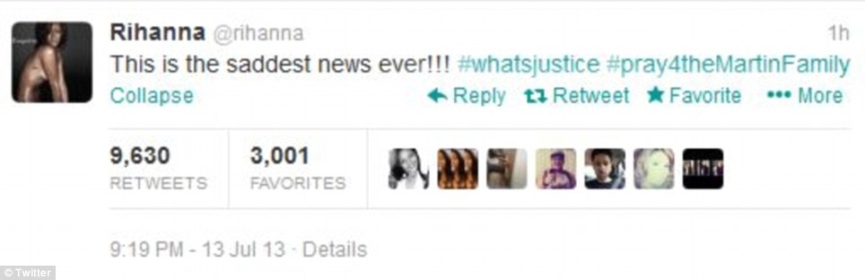 Pop star Rihanna tweeted, 'This is the saddest news ever,' in reaction to the court's verdict of not guilty