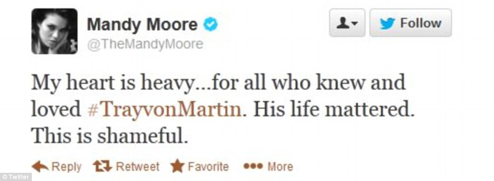 Mandy Moore called the trial verdict 'shameful' and mourned Trayvon Martin's death with his loved ones on Twitter