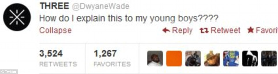 Basketball star Dwyane Wade reacted in disbelief on Twitter to the Zimmerman verdict of not guilty