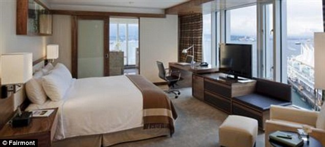 Room: One of the suites at the Fairmont Pacific Rim Hotel in downtown Vancouver where Cory had been staying (stock image)