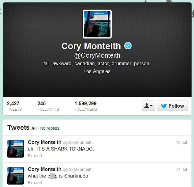 Social networker: Cory last took to his Twitter page on Friday, joking about the film Sharknado