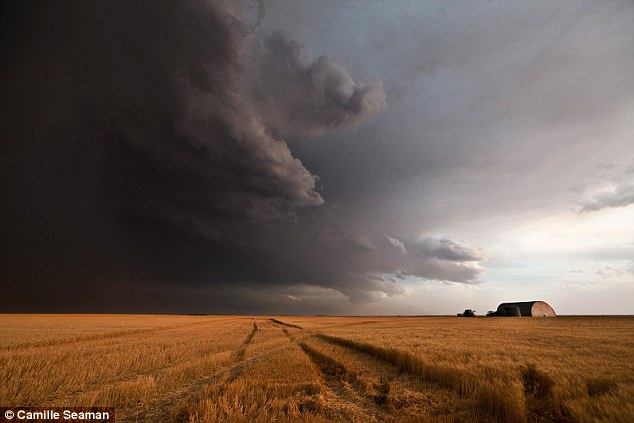 Dark side: A dramatic shift in light can be seen as this storm gathers over a field