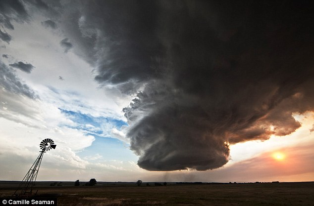 Touch down: A super cell looms close to the ground